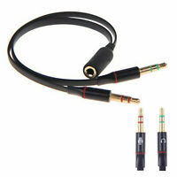 3.5mm Audio Headset Mic Y Splitter Cable Adapter Headphone Adapter PC Mic Cable