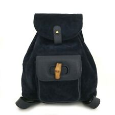 100% Authentic GUCCI Bamboo Handle Navy Suede Leather Back pack/40545