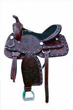 Western Brown Leather American Star Embroidered Hand Carved Barrel Saddle 15""