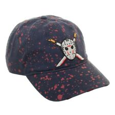 FRIDAY THE 13TH JASON MASK MACHETE BLOOD SPLATTER DAD HAT SLOUCH CAP CURVED BILL
