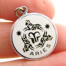 "Vintage JMF Fisher Sterling Silver Enamel ""Aries"" Zodiac Sign Bracelet Charm"