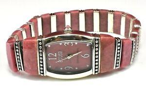 Ecclissi 33230 Sterling Silver 925 Genuine Rhodonite Stretch Watch
