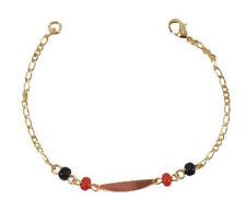Baby Red & Black Beads ID Bracelet-Evil Protection (Oro-Brasileño)-Size 5.5''