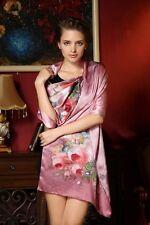 Foulard Echarpe Soie 175 X 52cm Vieux Rose Fleurs - Silk séide scarf shawl