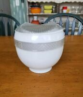 Vtg Atomic Textured White Frosted Clear Glass Ceiling Light Fixture Shade Globe