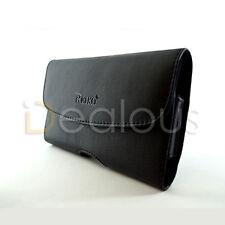 Premium Black Leather Horizontal Holster Pouch Case Belt Clip for Various Phones