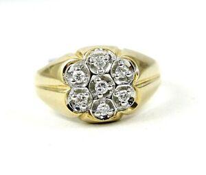Natural Round Diamond Cluster Signet Men's Ring Band 14k Yellow Gold .35Ct