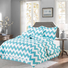 Turquoise 10 Piece Bed In a Bag Chevron Comforter Set - Sheet Set Included -