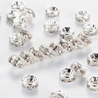 50-500PCS Rhinestone Rondelle Spacer Beads Silver 8mm Crystal Diamante /MY