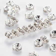 500PCS Rhinestone Rondelle Spacer Beads Silver 8mm Crystal Diamante