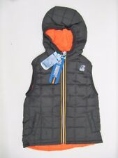 New Boys K-Way Gray Orange Reversible Joseph Thermo Plus Hooded Puffer Vest 6