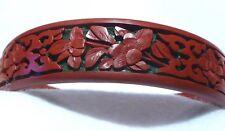 Vintage  Hand Carved Asian Design Red Cherry Blossom Bangle Bracelet