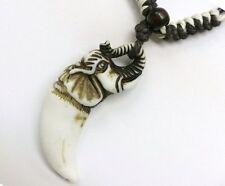 Buffalo Bone White Elephant Pendant Adjustable Cord Necklace # 30192-13 (QTY 2)