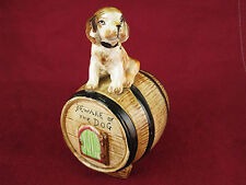"VTG ""Beware of the Dog"" Porcelain Bank Guarding Whiskey Barrel Rare Mid Century"