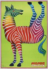 Rare Polish Circus Poster Hubert Hilscher Circus Zebra 26 x 38 1979 Excellent