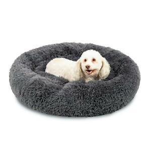 Self-Warming Shag Fur Calming Pet Bed W/ Water Resistant Lining Multi Size Gray