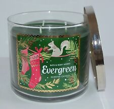 BATH & BODY WORKS EVERGREEN SCENTED CANDLE 3 WICK 14.5OZ LARGE FIR CEDAR GREEN