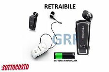 AURICOLARE RETRAIBILE CUFFIA BLUETOOTH V4.1 MP3 IPHONE SAMSUNG LUNGA DURATA
