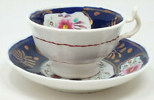 More details for antique gaudy welsh floret pattern cup and saucer duo