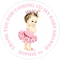 48 Personalised Baby Shower Party Bag Stickers Sweet Bag Cone Seals 40mm Labels