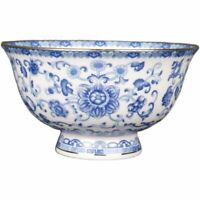 Chinese Qing Blue and White Porcelain Gild Twine Lotus Design Big Bowl 5 inch