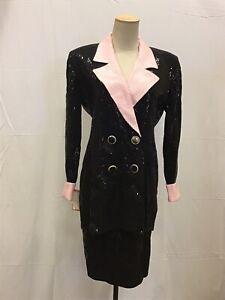 St. John Evening Size 6 Blazer Suit Jacket & Skirt Black Pink Sequin