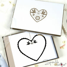 Wedding Photo Album with Keepsake Box -Ivory & Gold Theme- Embossed Heart Design