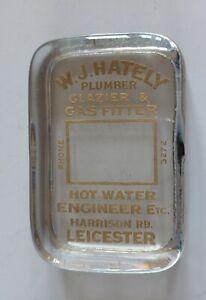 Vintage Glass Advertising Paperweight W. J. Hately Plumbers