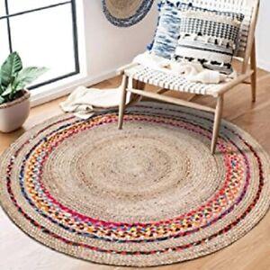 Rug Round Natural Jute & Cotton Reversible Carpet Living Modern  Area Rag Rug