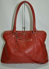 Roots Canada Red Genuine Leather Large Zip Satchel With Strap