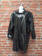 Vintage Raincoat Slicker Womens Black Shiny Vinyl Items International (985)