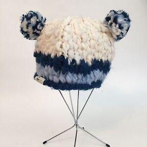 BITSY BEES Blue White Pom Pom Ears Winter Ski Hat One Size S M