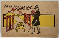 I was prevented from Calling, Man Flowers Dog at The Gate 1907 udb Postcard E14