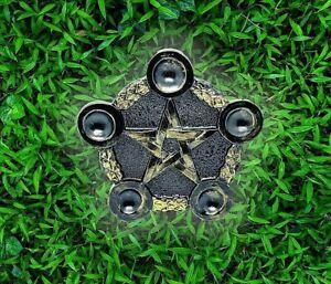 Pentcale 5 Sphere/ Tealight Candle Holder Celtic design Gold&Black  19 x 17 cm