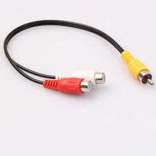 KF_ RCA AUDIO Y CORD SPLITTER CABLE 2 TWO FEMALE MONO JACK TO 1 ONE MALE WIRE