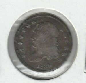 1835 Small Date Large 5C LM-9 Capped Bust Fine F US Silver Half Dime H10C