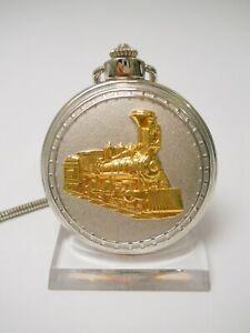 Eisenbahn Uhr Dampflok Taschenuhr Quartz in Farbe Silber, #20-06.01