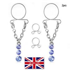 2 x Adjustable Non Pierced Clip On Fake Nipple Ring Body Jewelry Clamps #18