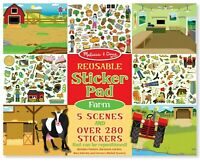 Melissa and Doug Reusable Sticker Pad - Farm - Brand New - 40501