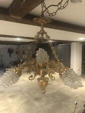 More details for vintage antique brass & glass grape cluster chandelier