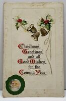 Merry Christmas To You Santa Bells Hollyberry 1912 to Stewben Maine Postcard F14