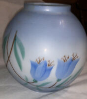 "Vintage Small Gone With The Wind Blue Hand Painted Floral Tulip Shade 6"" Tall"