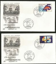 United Nations 45. Anniversary 2 Fdc two Fdcs Geneva Stamp 1990