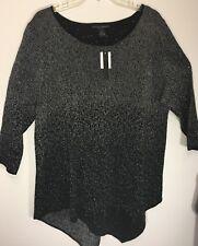 NWT Grace Elements Black Silver Sweater Top Plus Size - 2X Orig. $94.00