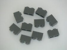 Lego 10 briques rainures gris foncé Dark Bluish Gray brick w/ grill NEW REF2877