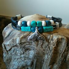 Ladies Girls  surfer  Save the Whale  Genuine leather  multi wrap bracelet