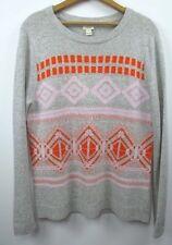 NWT J Crew Geometric Fair Isle Sweater Sz XS Heather Dove Pink Gray Orange $88