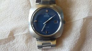 Omega Geneve Automatic Gents Watch Blue Rare Type 1970's 6 Month Warranty