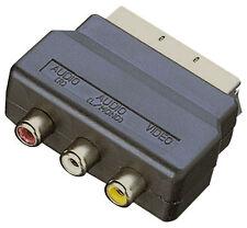 RGB Scart Spina Maschio A 3 RCA FEMMINA A / V CONVERTITORE ADATTATORE PER TV DVD VCR