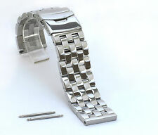 HEAVY 20mm Solid 316L stainless Steel Watch Bracelet ALL POLISHED MIRROR FINISH
